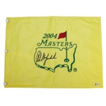 Phil Mickelson Signed 2004 Masters Embroidered Flag BECKETT #G77580