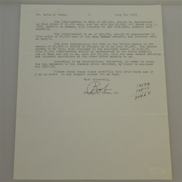 Bobby Jones Signed July 29, 1953 Letter - Family Money Content JSA FULL #B60861