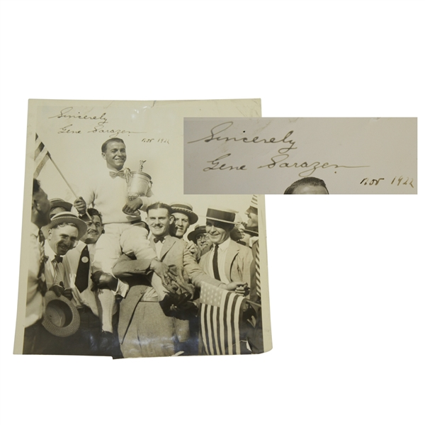Gene Sarazen Signed Vintage  Type 1 Wire Photo from 1922 US Open Win - Time Period Sig & Notation JSA FULL #BB11039)