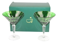 Augusta National Members Limited Pair of Emerald Cut Martini Glasses