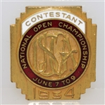 1934 US Open at Merion Contestant Badge - Olin Dutra Winner - Top Condition