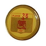2001 Masters Tournament Player Contestant Badge #36 - Tiger Woods Winner!