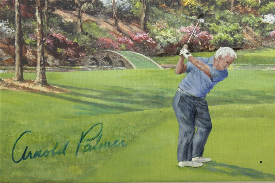 Arnold Palmer Signed & Golf Ball Marked Bill Waugh Oil on Canvas Painting JSA ALOA