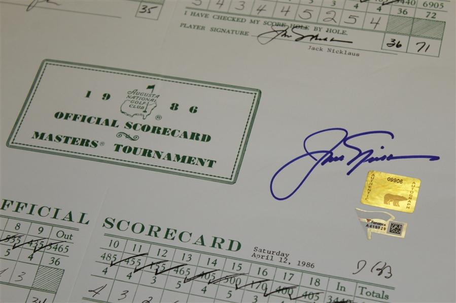 Jack Nicklaus Signed Scorecards From The 1986 Masters - Fanatics/Golden Bear Authentication Stickers