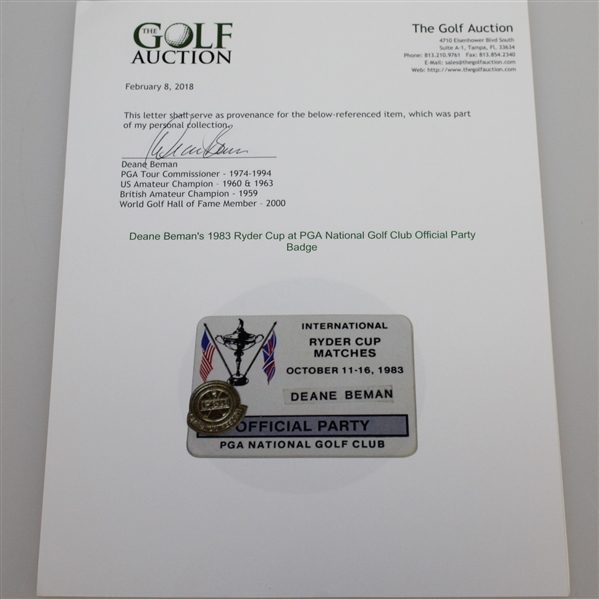 Deane Beman's 1983 Ryder Cup at PGA National Golf Club Official Party Badge