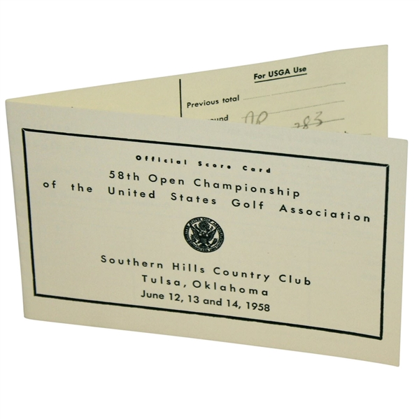 Tommy Bolt & Bruce Crampton Signed 1958 US Open at Southern Hills Replica Scorecard JSA ALOA