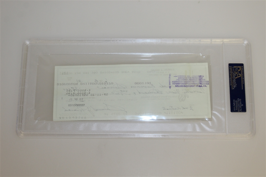 Sam Snead Signed 1990 Personal Check to the IRS for $25k PSA/DNA #83511562