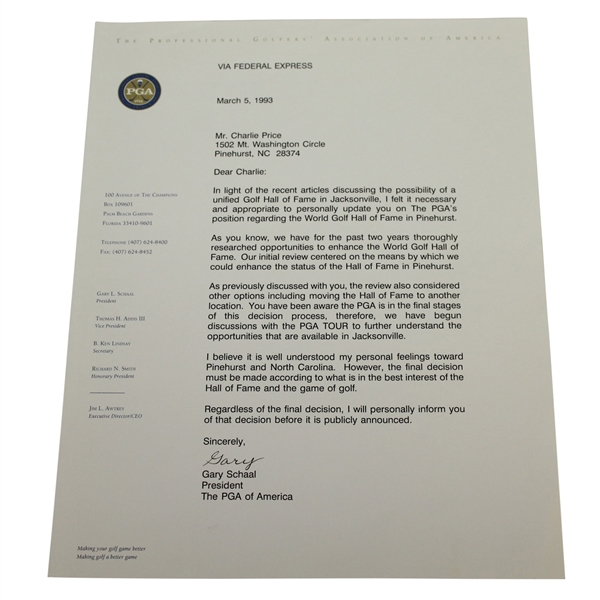 Gary Schaal Signed Letter to Charles Price - March 5, 1993 JSA ALOA