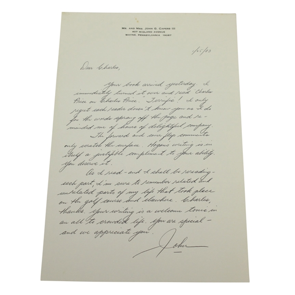 John G. Capers III Signed Handwritten Letter to Charles Price - January 25, 1983 JSA ALOA