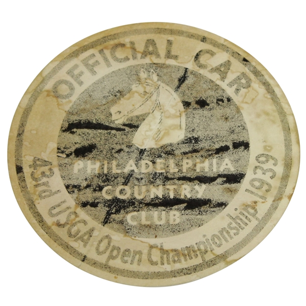 1939 US Open at Philadelphia CC Parking/Official Car Placard - Byron Nelson Winner