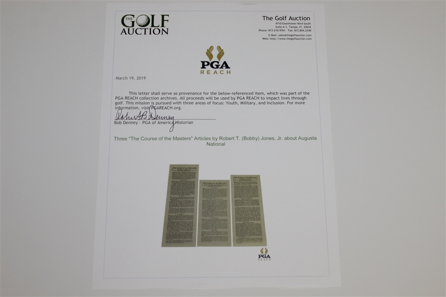 Three 'The Course of the Masters' Articles by Robert T. (Bobby) Jones, Jr. about Augusta National