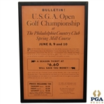 "1939 US Open Championship at Philadelphia Country Club Ticket Poster - Byron Nelson Winner 15"" x 24"""