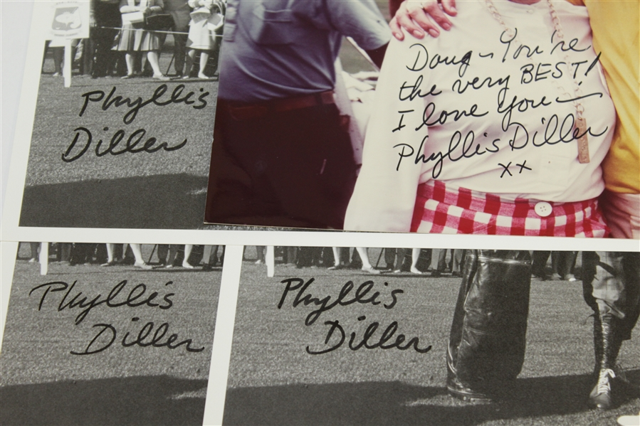 Four Phyllis Diller Signed Photos - Three with Bob Hope & One with Doug Sanders JSA ALOA