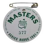 1961 Masters Tournament Series Badge #577 - Gary Player Winner - Low Number
