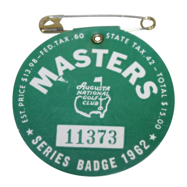 1962 Masters Tournament Series Badge #11373 - Arnold Palmer's 3rd Green Jacket!