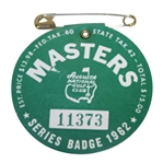 1962 Masters Tournament Series Badge #11373 - Arnold Palmers 3rd Green Jacket!