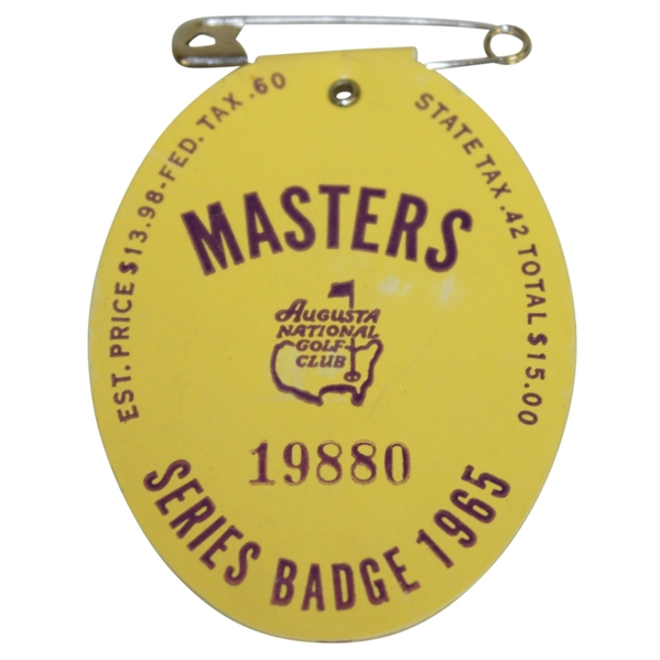 1965 Masters Tournament Series Badge #7221 - Jack Nicklaus' 2nd Green Jacket!