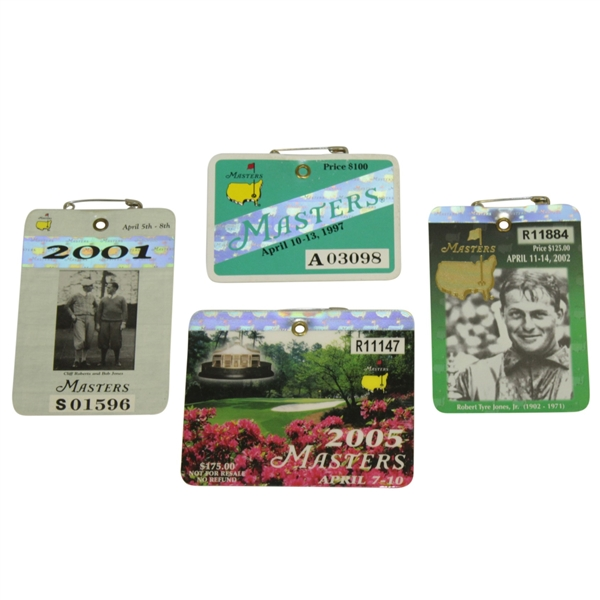 1997, 2001, 2002 & 2005 Masters Tournament Series Badges - Tiger Woods Victories!