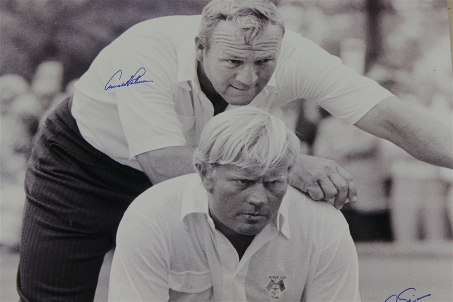Arnold Palmer & Jack Nicklaus Dual Signed Oversize B & W Ryder Cup Photo-Golden Bear, Fanatics Holograms