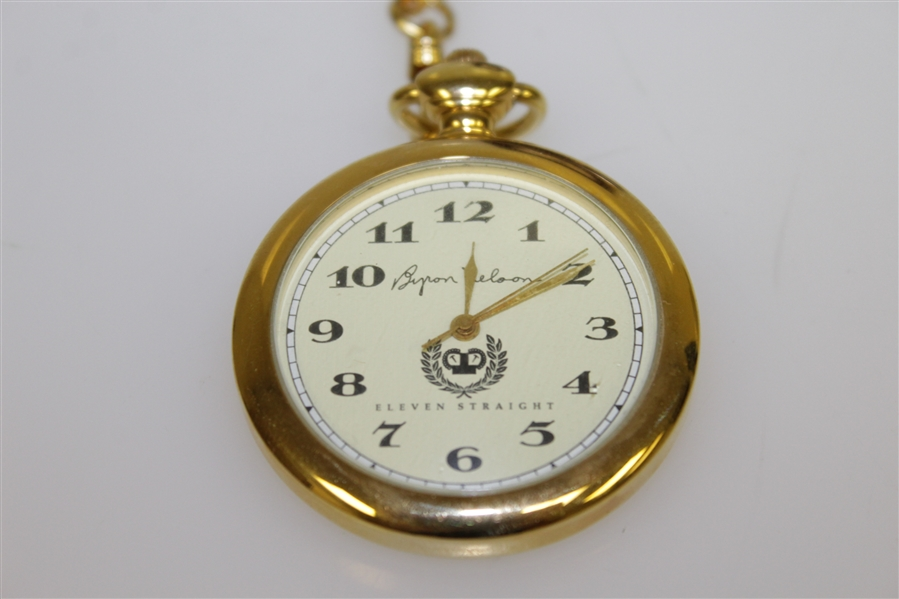 Byron Nelson Gold 'Eleven Straight' Ltd Ed Pocket Watch w/ Signed Box JSA ALOA