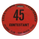 1941 US Open at Colonial Country Club Contestants Bag Tag - Craig Wood Winner