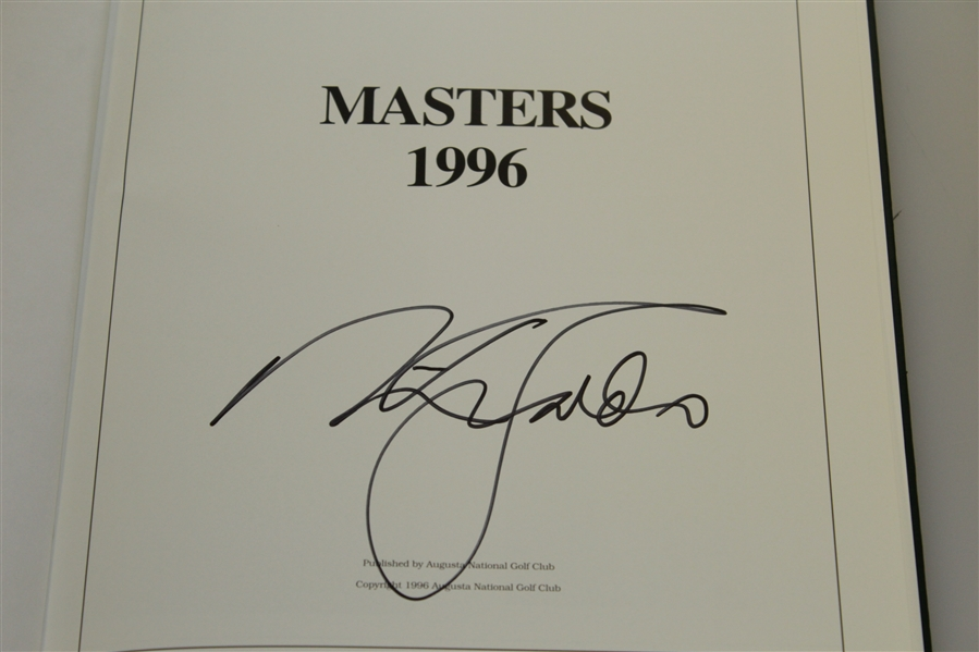 1996 Masters Tournament Annual Book - Signed By Winner Nick Faldo JSA ALOA