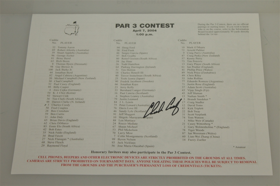 Phil Mickelson, Player & Coody Signed 2004 Masters Par 3 Pairing Sheets JSA ALOA