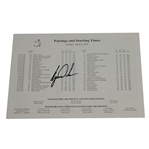 Tiger Woods Signed 2001 Masters Tournament Final Rd Sunday Pairing Sheet JSA ALOA