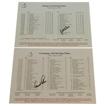 Arnold Palmer & Mike Weir Signed Masters Sunday Pairing Sheets - 2002 & 2003 JSA ALOA