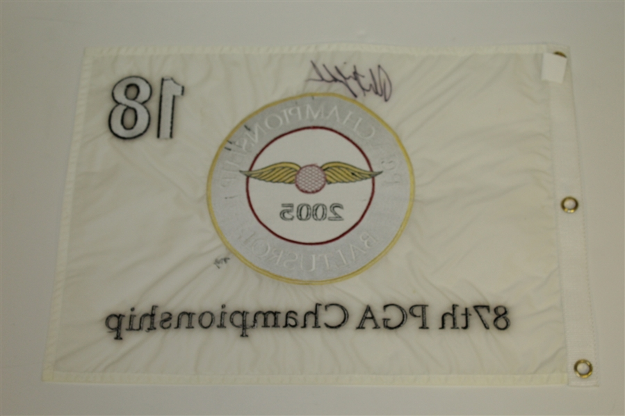 Phil Mickelson Signed 2005 PGA Championship at Baltusrol White Embroidered Flag JSA ALOA