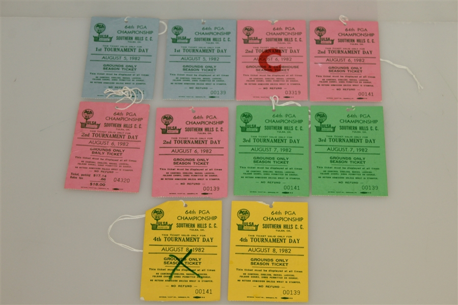 1982 PGA Championship at Southern Hills CC Tickets Set - Ray Floyd Winner