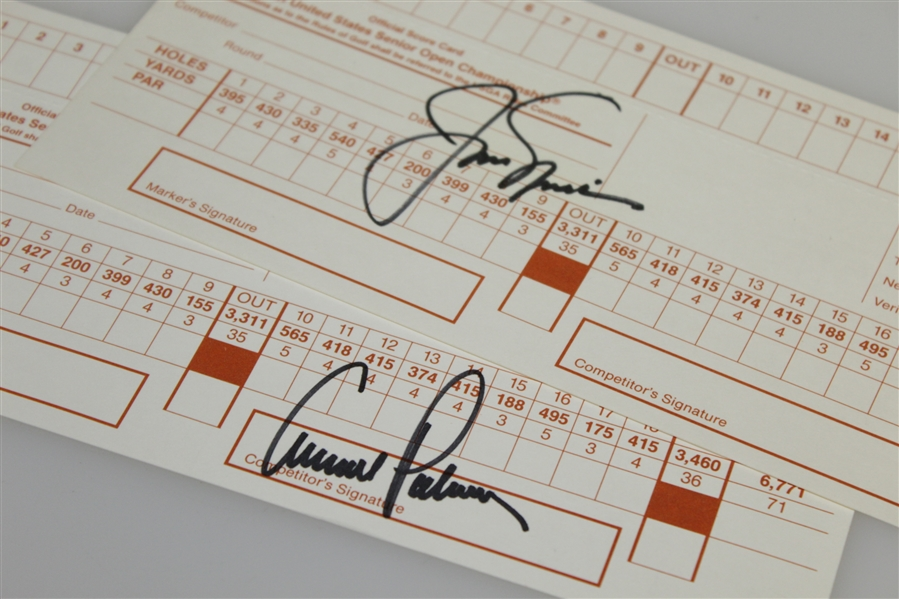 Jack Nicklaus & Arnold Palmer Signed 1994 US Senior Open Official Scorecards JSA ALOA