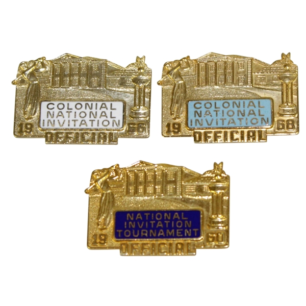 Colonial Invitational Tournament Official Pins / Badges - 1960, 1966 & 1968