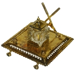 Golf Themed Vintage Inkwell With Crossed Clubs, Flagsticks & Gutty Balls - Ornate Design