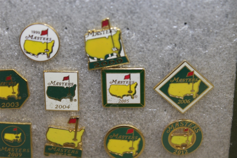 Masters Tournament Employee Pins (19) In Framed Piece - Run of 1998-2016