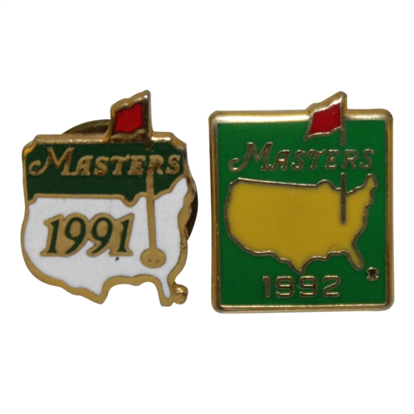 Masters Tournament Employee Pins - 1991 & 1992
