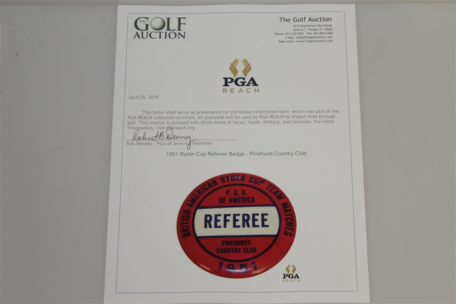 1951 Ryder Cup Referee Badge - Pinehurst Country Club