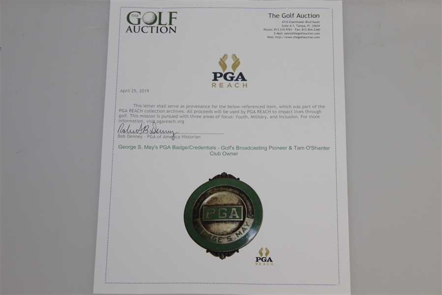George S. May's PGA Badge/Credentials - Golf's Broadcasting Pioneer & Tam O'Shanter Club Owner