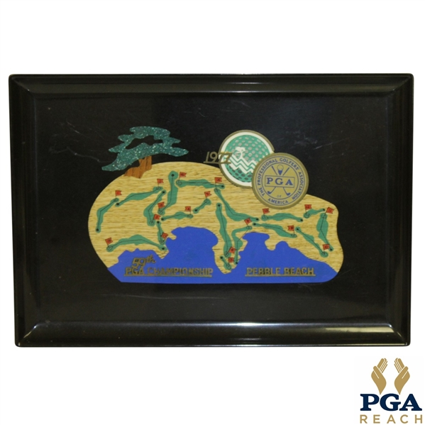 1977 PGA Championship at Pebble Beach Serving Tray - Lanny Wadkins Winner