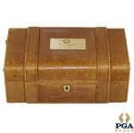 John Mahaffeys 1979 PGA Championship Champions Dinner Gift - Leather Jewelry / Trinket Box w/ Engraved Nameplate