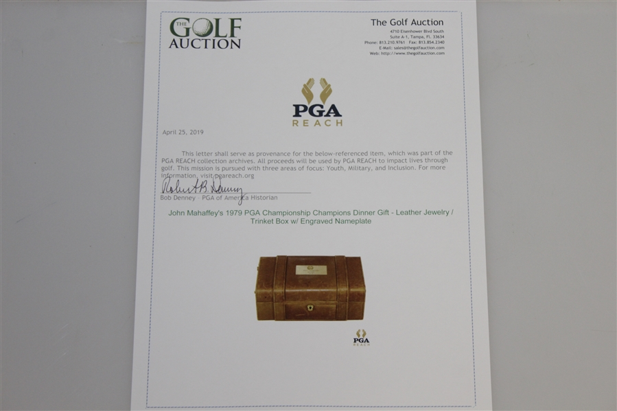 John Mahaffey's 1979 PGA Championship Champions Dinner Gift - Leather Jewelry / Trinket Box w/ Engraved Nameplate