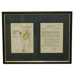 Tony Lema Signed 1963 Challenge Golf Contract with Sports Illustrated Cover Framed Presentation JSA ALOA