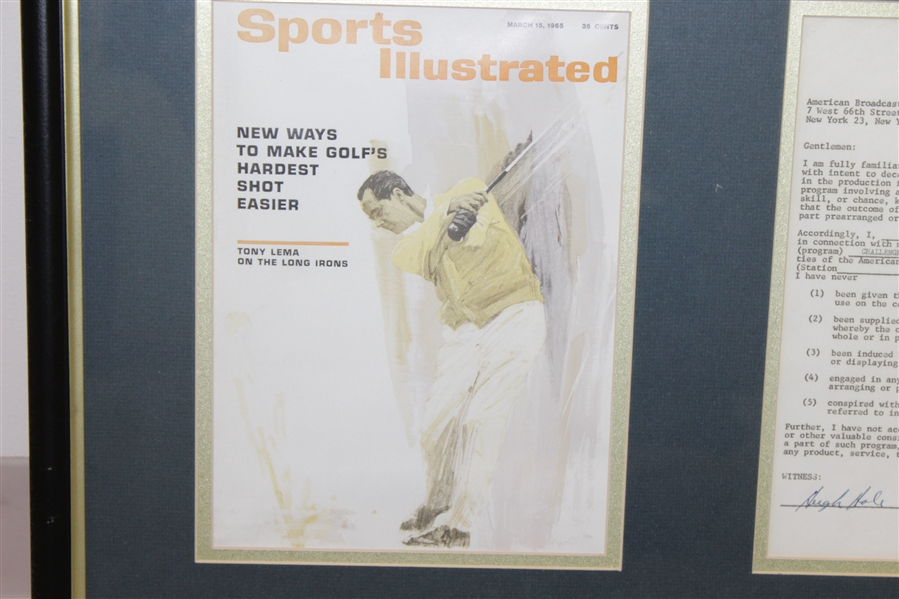 Tony Lema Signed 1963 'Challenge Golf' Contract with Sports Illustrated Cover Framed Presentation JSA ALOA