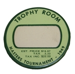 1949 Masters Tournament Trophy Room Badge In Great Condition - Snead Victory
