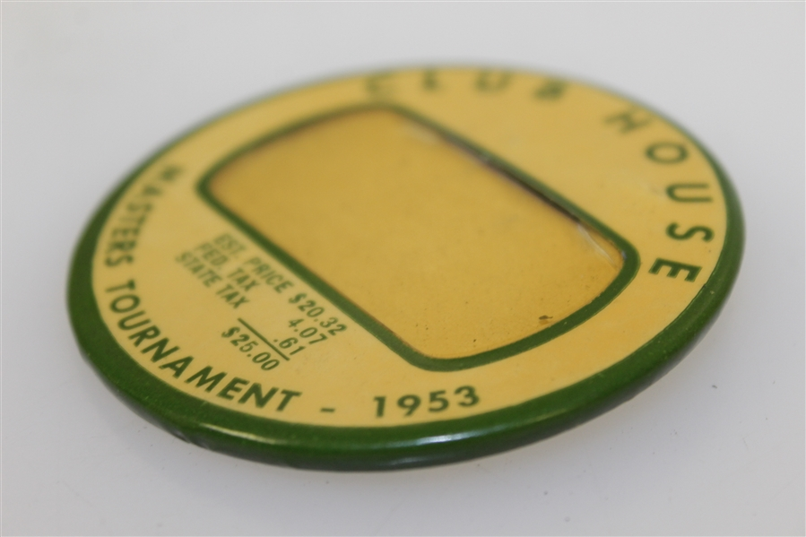 1953 Masters Tournament Clubhouse Badge - Ben Hogan Win