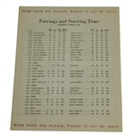 1946 Masters Tournament Saturday Pairing Sheet - Herman Keiser Victory
