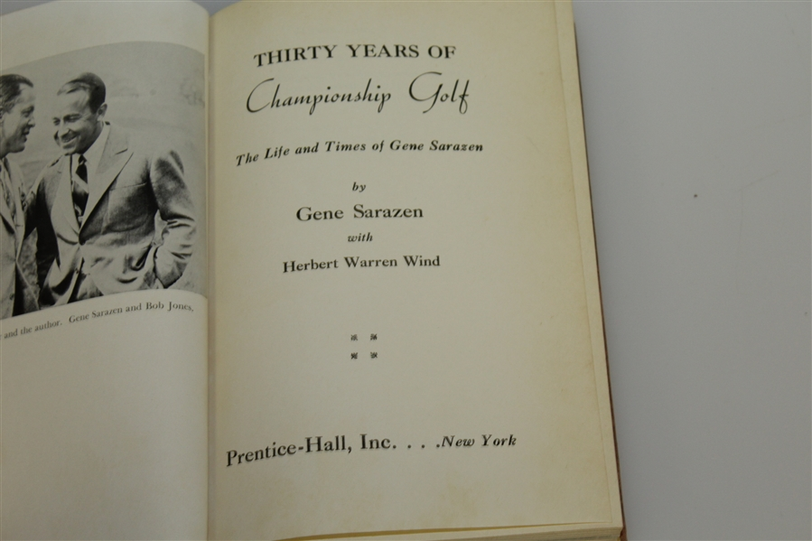 Gene Sarazen Signed & Inscribed '30 Years of Championship Golf' - Glenna Collett CollectionJSA ALOA