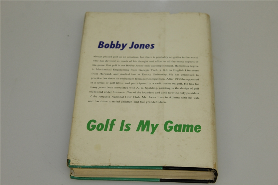 Bobby Jones Signed 1960 'Golf Is My Game' Book w/ Notation & Original 1935 Photo - Glenna Collett Collection JSA ALOA