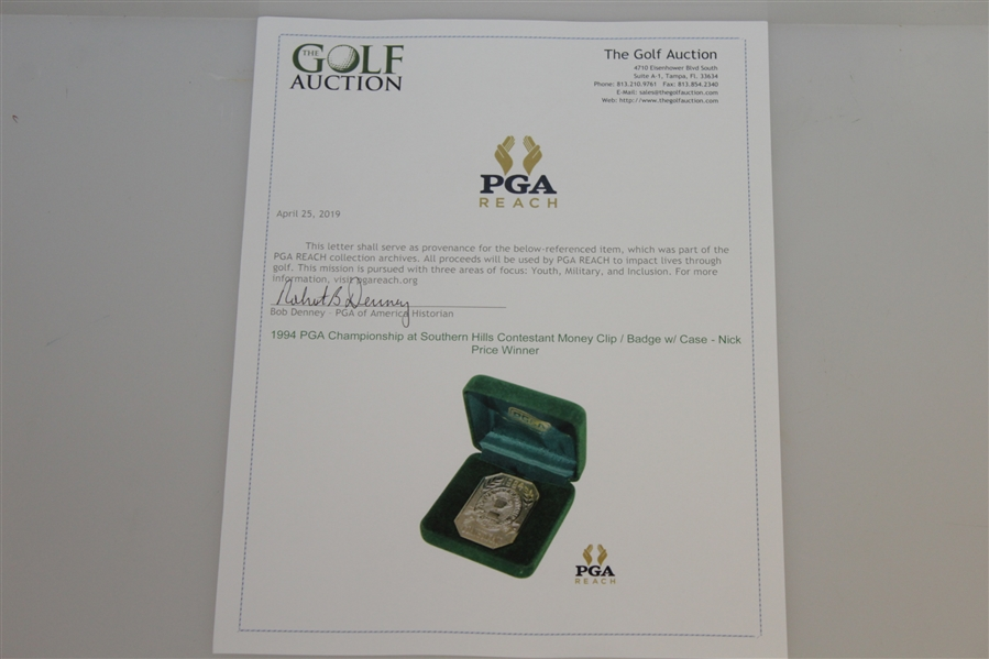 1994 PGA Championship at Southern Hills Contestant Money Clip / Badge w/ Case - Nick Price Winner