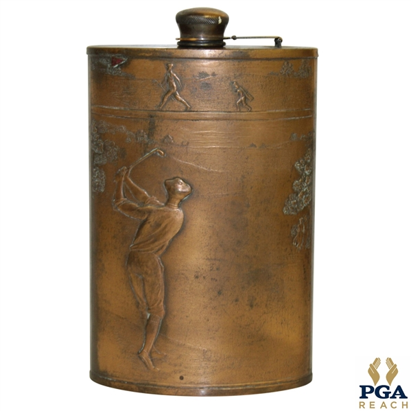 Vintage Old-Time Golf Course Scene Flask - Evans Nickel Silver